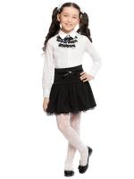 Блузка с жабо с длинным рукавом для младшей и средней школы