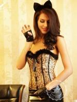 Комплект женский (корсет, юбка, перчатки, стринги, чулки, уши) e8527